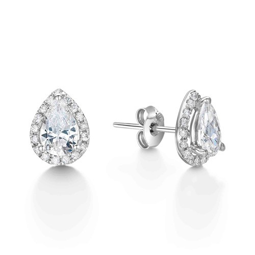 Pear Shaped Halo Diamond Stud Earrings Ref Lbex4414